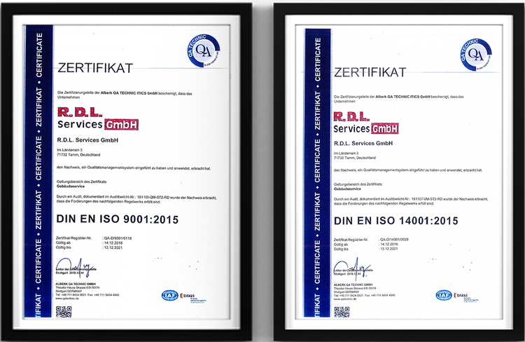 RDL Services Unsere Zertifikate